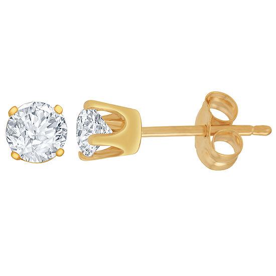 1/4 CT. T.W. Genuine White Diamond 14K Gold 4.1mm Stud Earrings