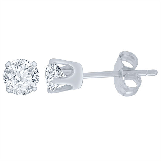 1/2 CT. T.W. Genuine White Diamond 14K White Gold 5.2mm Stud Earrings
