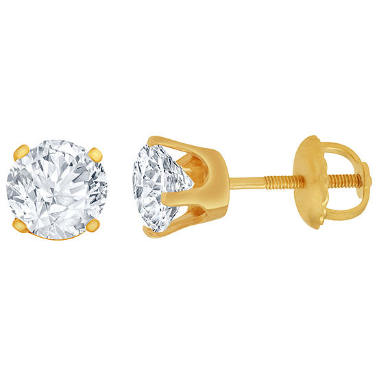 1 CT. T.W. Genuine White Diamond 14K Gold 6.5mm Stud Earrings
