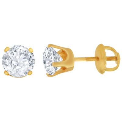 1 CT. T.W. Genuine White Diamond 14K Gold 6.5mm Stud Earrings