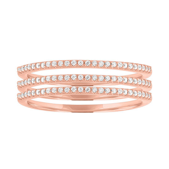 Womens 1/5 CT. T.W. Genuine White Diamond 14K Rose Gold Over Silver Wedding Stackable Ring
