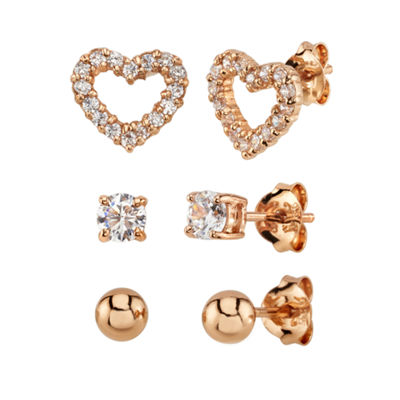 White Cubic Zirconia 14K Rose Gold Over Sterling Silver Heart Earring Set