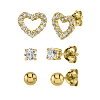 White Cubic Zirconia 14K Rose Gold Over Silver Sterling Silver Heart Earring Set