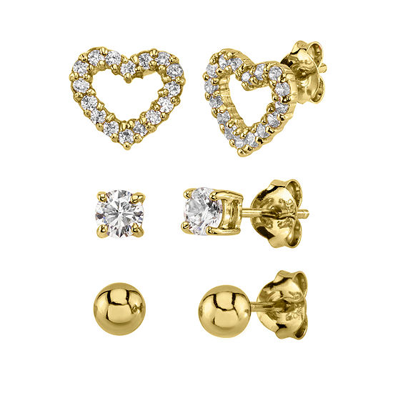 White Cubic Zirconia 14K Gold Over Silver Heart Earring Set