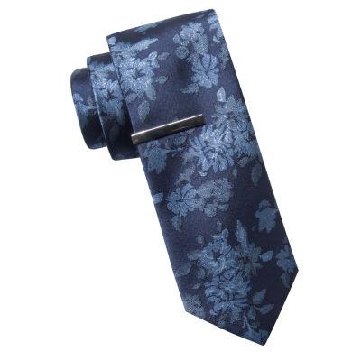 JF J. Ferrar® Panel Plaid Tie and Tie Bar Set - Slim