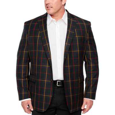 Stafford Tartan Multi Check Classic Fit Sport Coat - Big and Tall