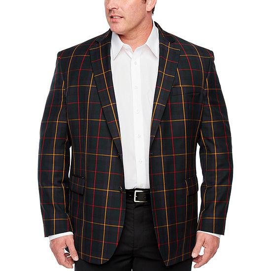 Stafford Tartan Multi Check Classic Fit Sport Coat - Big and Tall