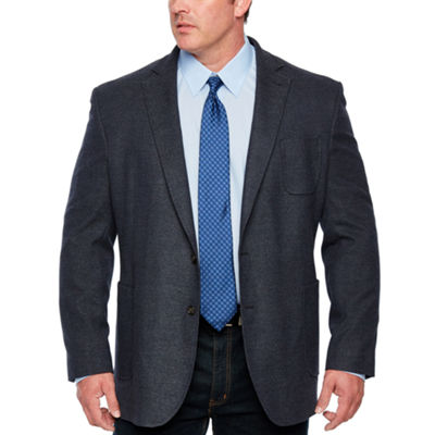 Stafford Merino Flannel Stretch Blue Twill Classic Fit Sport Coat - Big and Tall