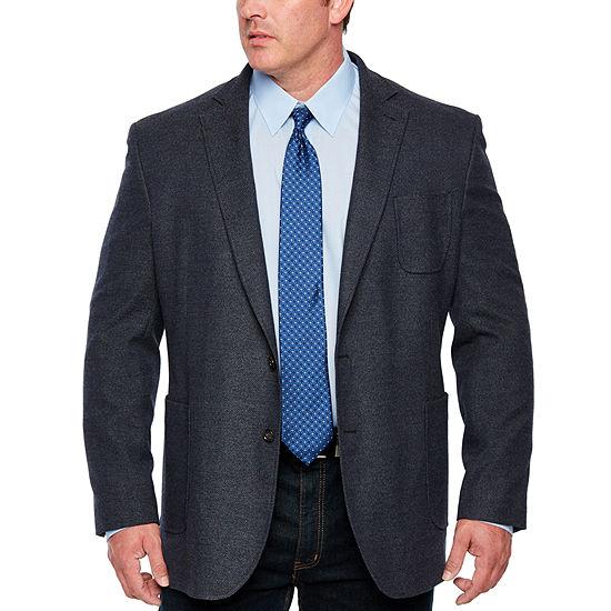 Stafford Merino Flannel Stretch Blue Twill Classic Fit Sport Coat - Big and Tall