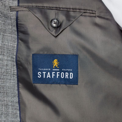 Stafford Merino Flannel Stretch Micro Houndstooth Classic Fit Sport Coat - Big and Tall