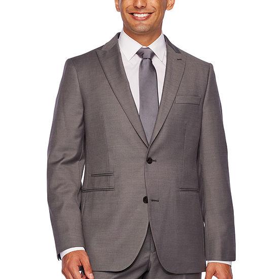 JF J.Ferrar Gray Sharkskin Classic Fit Stretch Suit Jacket