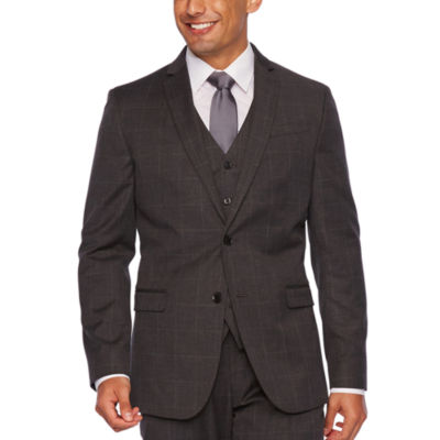 JF J.Ferrar Gray Windowpane Slim Fit Stretch Suit Jacket