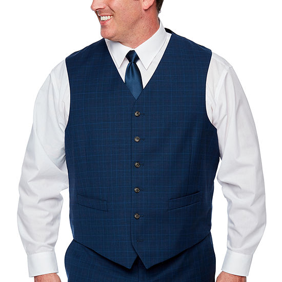 Stafford - Big and Tall Blue Burgundy Glen Plaid Classic Fit Stretch Suit Vest