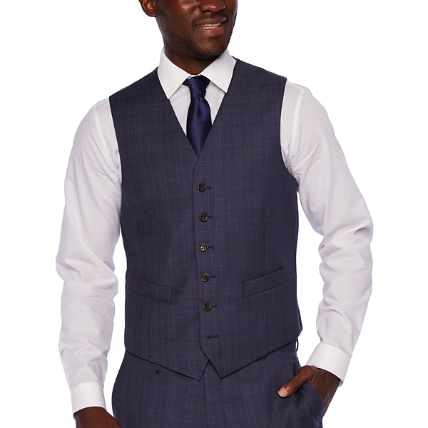 Stafford Executive Plaid Classic Fit Suit Vest