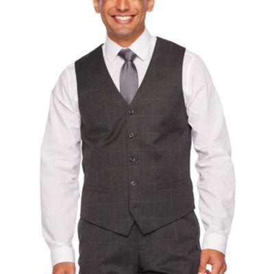 JF J.Ferrar Gray Windowpane Slim Fit Suit Vest