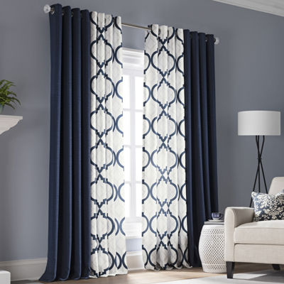 Liz Claiborne Quinn Geo Room Darkening Grommet-Top Curtain Panel