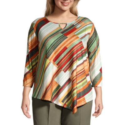 Alfred Dunner Autumn in New York Diagonal Texture Blouse - Plus