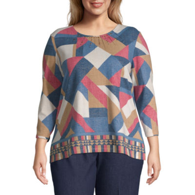 Alfred Dunner News Flash Patchwork Border Blouse - Plus
