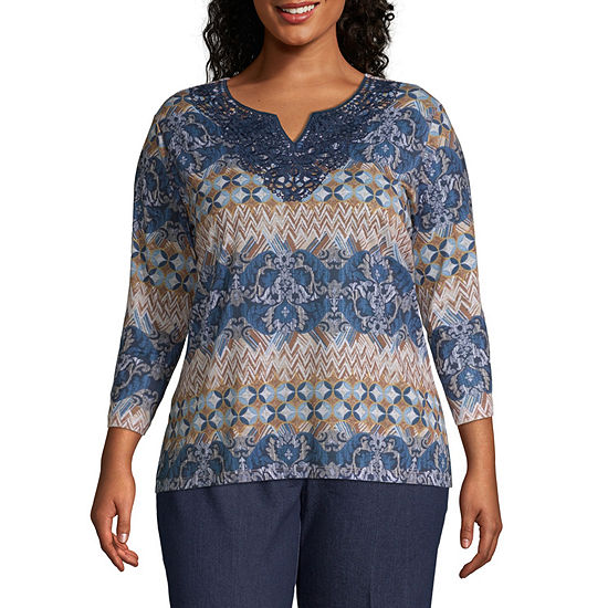 Alfred Dunner News Flash Biadere Lace Neck Blouse Plus