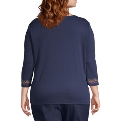 Alfred Dunner News Flash Center Embroidered Blouse - Plus