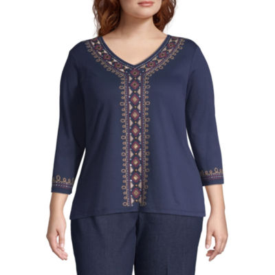 News Flash Center Embroidery Blouse - Plus