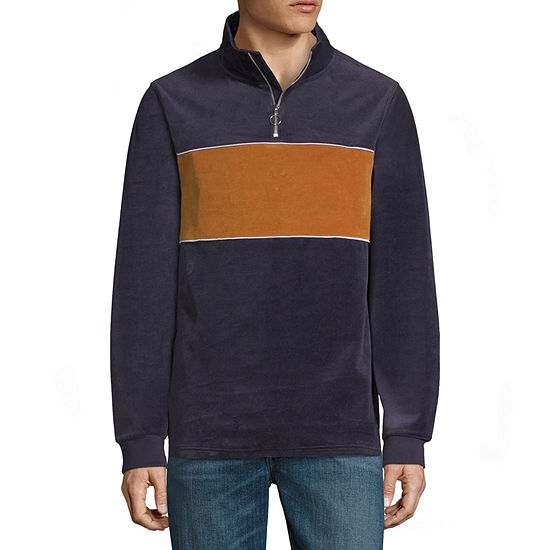 Arizona Mens Mock Neck Long Sleeve Quarter-Zip Pullover