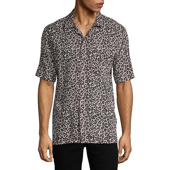 Arizona Mens Short Sleeve Button-Front Shirt