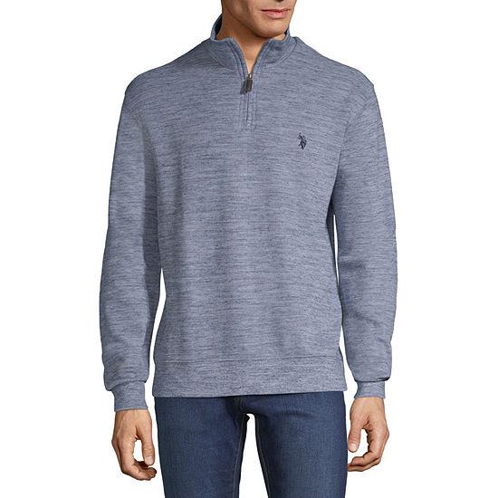 U.S. Polo Assn. Mens Mock Neck Long Sleeve Quarter-Zip Pullover
