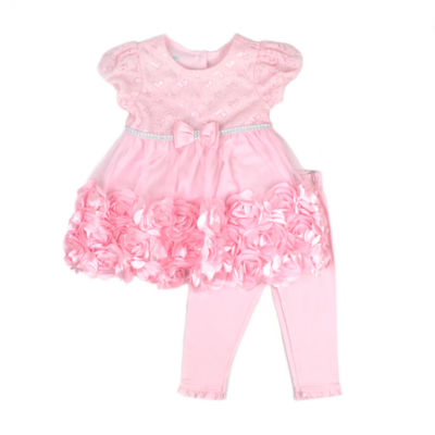 Nanette Baby 2-pc. Metallic Lace Mesh Rosette Legging Set-Baby Girls