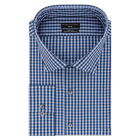 Shaquille O'Neal XLG Flex Collar Cooling Stretch Long Sleeve Broadcloth Checked Dress Shirt-Big And Tall