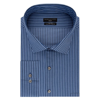 Shaquille O'Neal XLG Flex Collar Cooling Stretch Long Sleeve Broadcloth Checked Dress Shirt - Big And Tall
