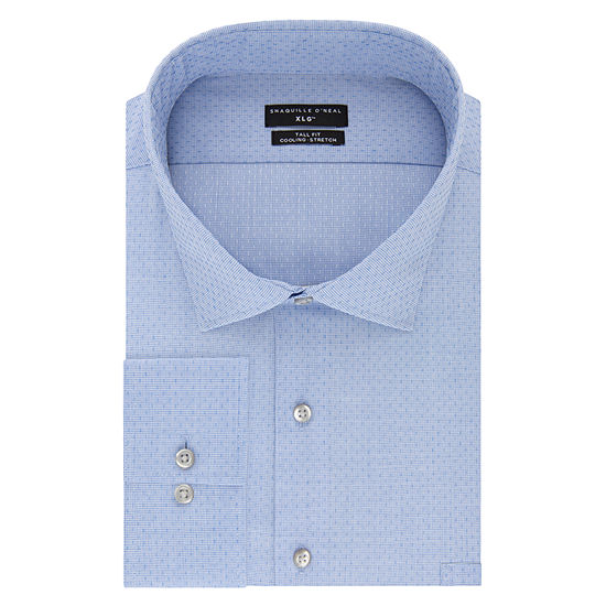 Shaquille O'Neal XLG Flex Collar Cooling Stretch Long Sleeve Broadcloth Dress Shirt - Big And Tall