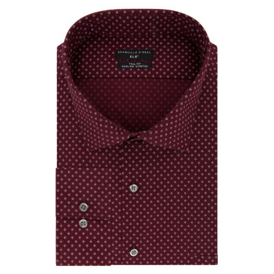 Shaquille O'Neal XLG Flex Collar Cooling Stretch Long Sleeve Yarn Dyed Woven Pattern Dress Shirt - Big and Tall