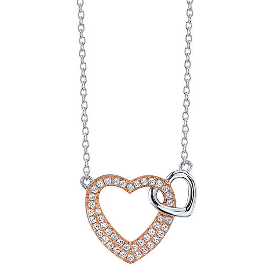 Footnotes Sisters Clear Sterling Silver Heart Pendant Necklace