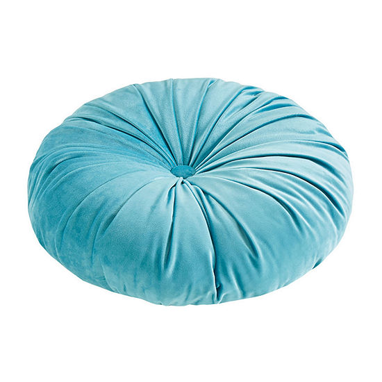 "Intelligent Design Nalan 16""x16""x4"" Poly Velvet Round Cushion Pillow"