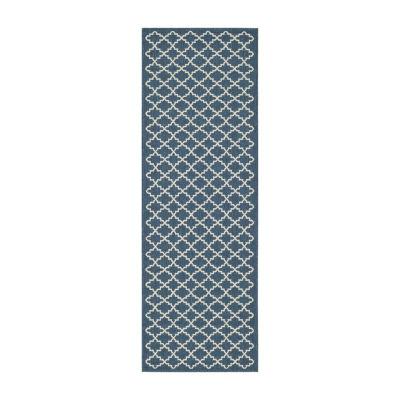 Safavieh Courtyard Collection Bora Geometric Indoor/Outdoor Runner Rug