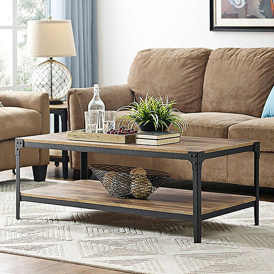 Angle Iron Rustic Wood Coffee Table