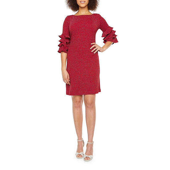 J Taylor 3/4 Tiered Sleeve Shift Dress