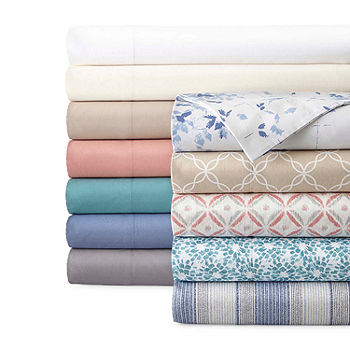Jcpenney Home 300tc 100 Cotton Percale Ultra Soft Solid And Print Sheet Sets Jcpenney