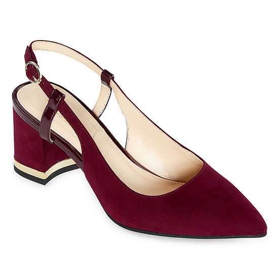 Liz Claiborne Womens Bay Pumps Pointed Toe Block Heel