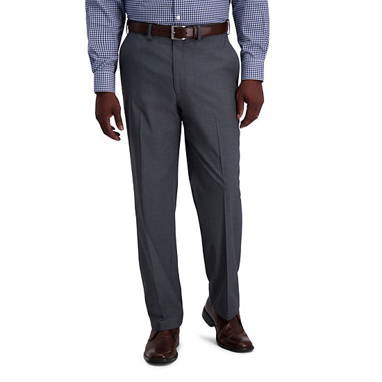 J.M. Haggar Heather Diamond Weave Men's Classic Fit Flat Front Pant