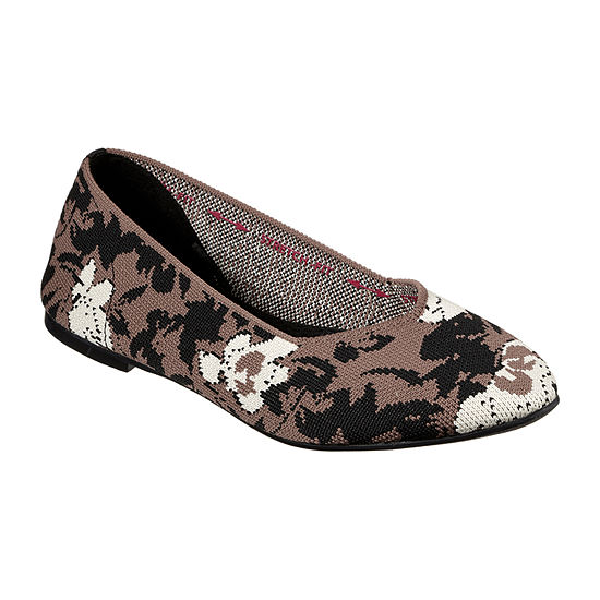Skechers Womens Cleo-Camfloral Pointed Toe Ballet Flats