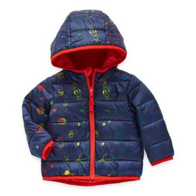 Okie Dokie Baby Boys Hooded Reversible Midweight Puffer Jacket
