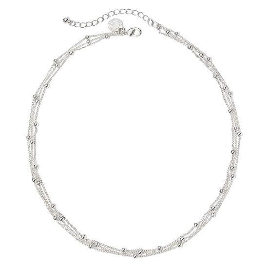 Liz Claiborne® Silver-Tone 3-Strand Ball Layered Necklace
