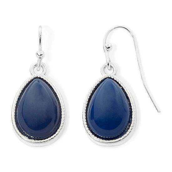 Liz Claiborne® Blue Bead Silver-Tone Drop Earrings