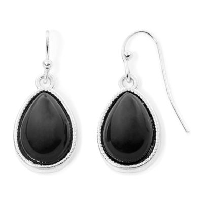 Liz Claiborne® Black Bead Silver-Tone Drop Earrings