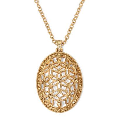 Monet® Brown Bead Gold-Tone Flower Pendant Necklace