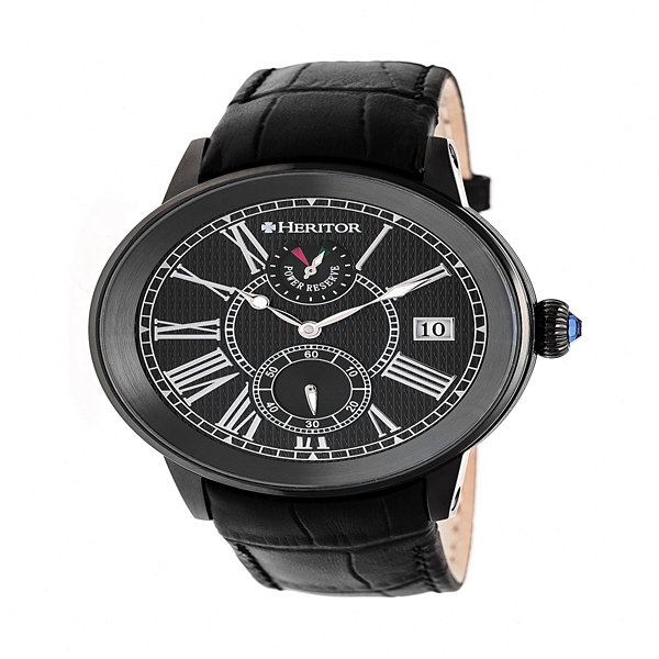 Heritor Mens Black Strap Watch-Herhr4306
