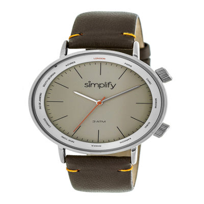 Simplify Unisex Brown Strap Watch-Sim3304
