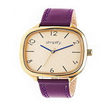 Simplify Unisex Purple Leather Strap Watch-Sim3507